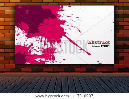 Abstract painting image on brick background texture wall with wooden floor