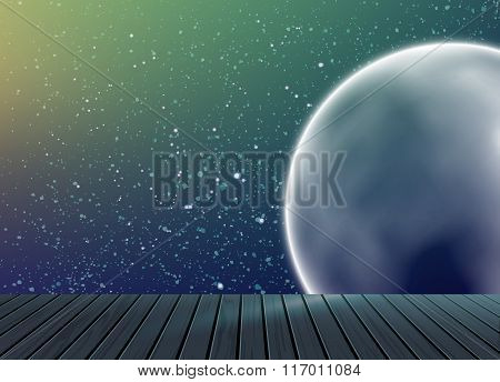 Galaxy space pattern on background with wooden floo