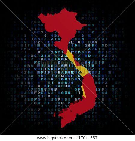 Vietnam map flag on hex code illustration