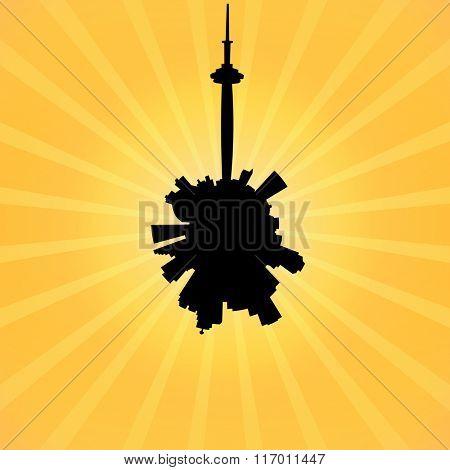 Circular Toronto skyline on sunburst illustration