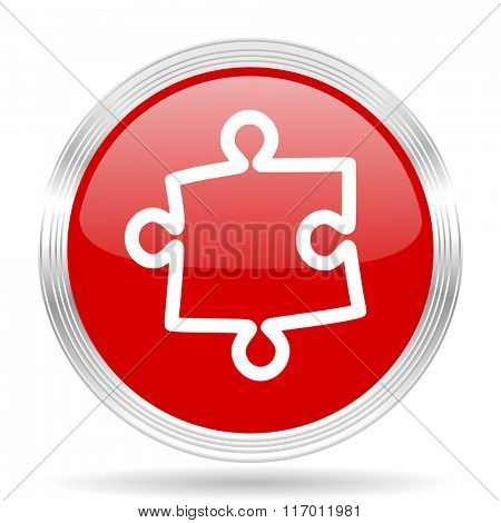 puzzle red glossy circle modern web icon on white background