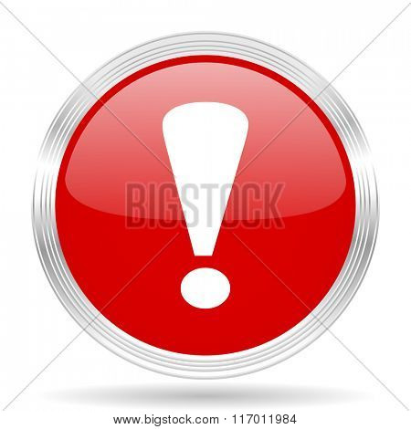 exclamation sign red glossy circle modern web icon on white background