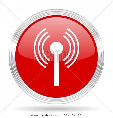 wifi red glossy circle modern web icon on white background