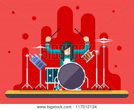 Drummer Drum Icons Set Hard Rock Heavy Folk Music Background Concept Flat Design Vector Illustration