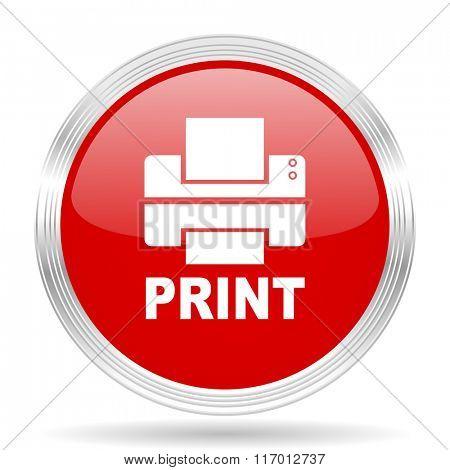 printer red glossy circle modern web icon on white background