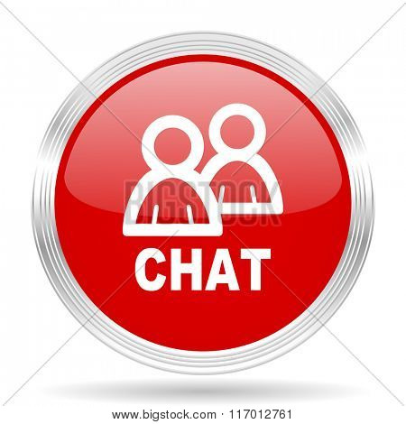 chat red glossy circle modern web icon on white background