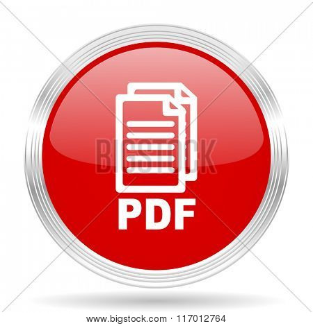 pdf red glossy circle modern web icon on white background,