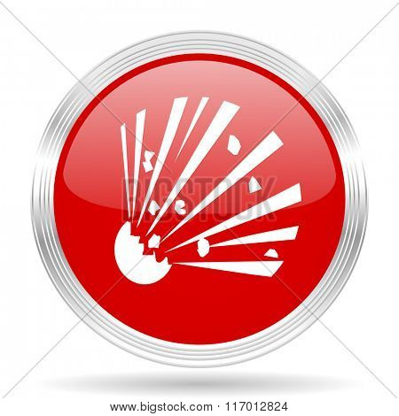 bomb red glossy circle modern web icon on white background