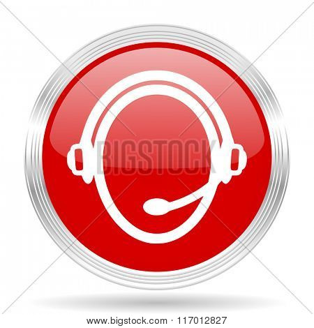 customer service red glossy circle modern web icon on white background