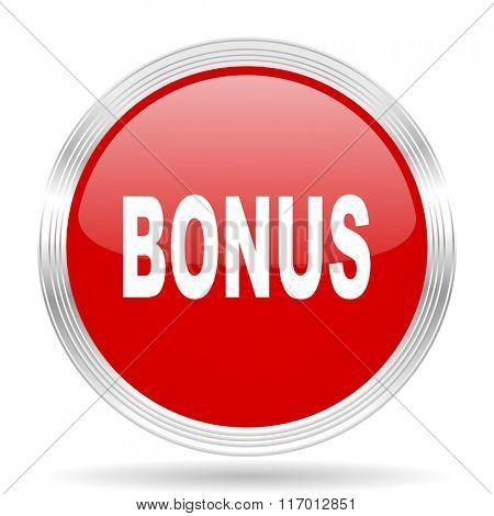 bonus red glossy circle modern web icon on white background