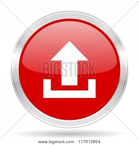 upload red glossy circle modern web icon on white background