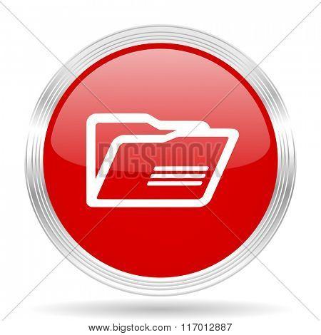 folder red glossy circle modern web icon on white background