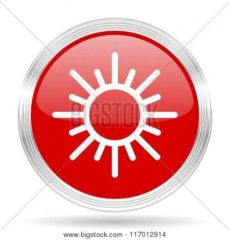 sun red glossy circle modern web icon on white background