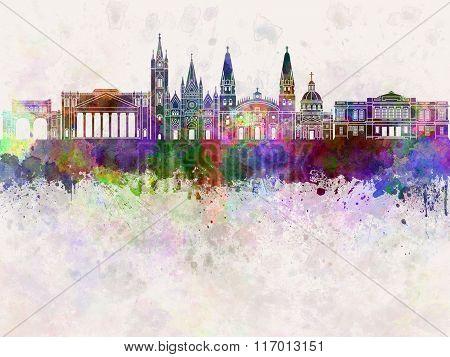Guadalajara Skyline In Watercolor Background
