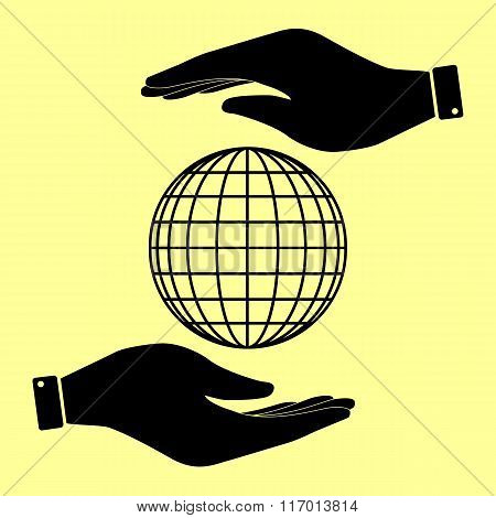 Save or protect symbol by hands.