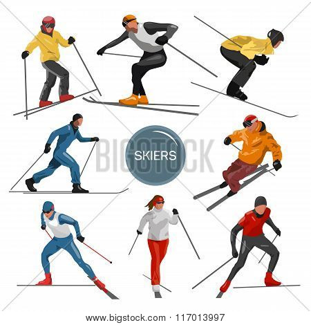 Vector set of skiers. People skiing design elements isolated on white background. Winter sport silho