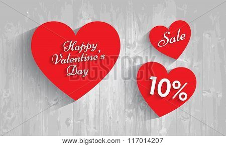 Valentine`s Day Sale, 10 Percent Discount. Vector Eps 10.