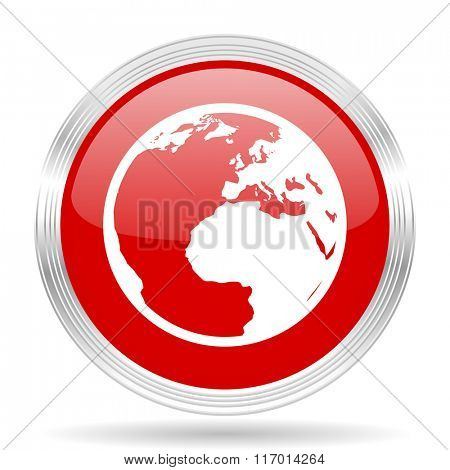 earth red glossy circle modern web icon on white background