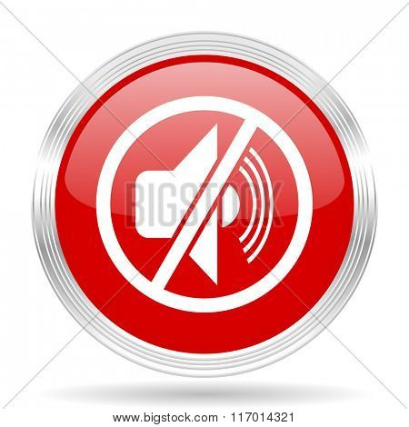 mute red glossy circle modern web icon on white background