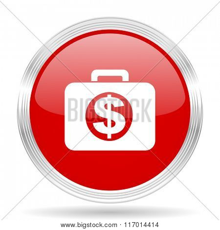 financial red glossy circle modern web icon on white background