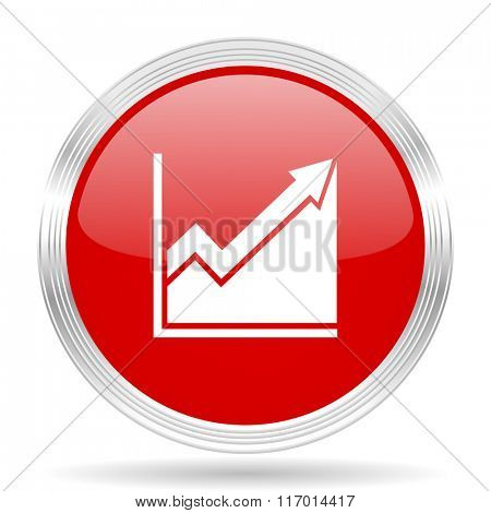 histogram red glossy circle modern web icon on white background