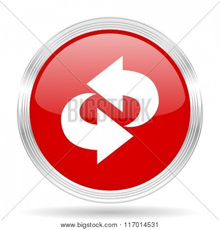 rotation red glossy circle modern web icon on white background