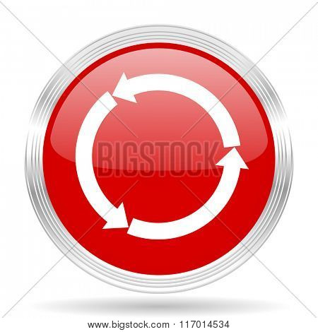 refresh red glossy circle modern web icon on white background