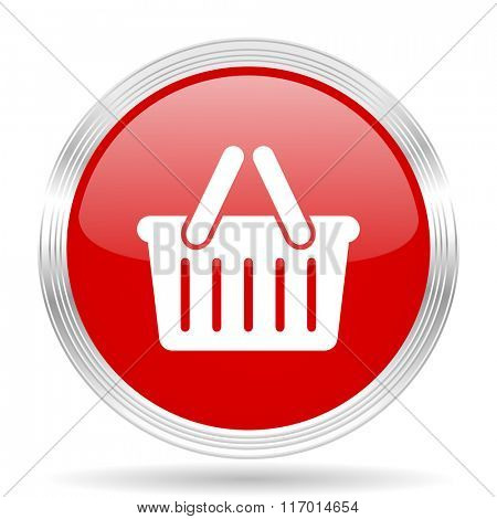 cart red glossy circle modern web icon on white background