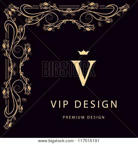 Monogram Design Elements, Graceful Template. Elegant Line Art Logo Design. Letter V. Business Sign,