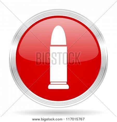 ammunition red glossy circle modern web icon on white background