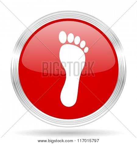 foot red glossy circle modern web icon on white background