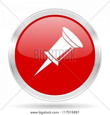 pin red glossy circle modern web icon on white background