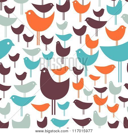 post modern seamless pattern of colorful retro birds