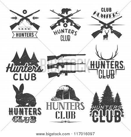 Vector set of hunting club labels in vintage style. Design elements, emblems, badges, hunt logo