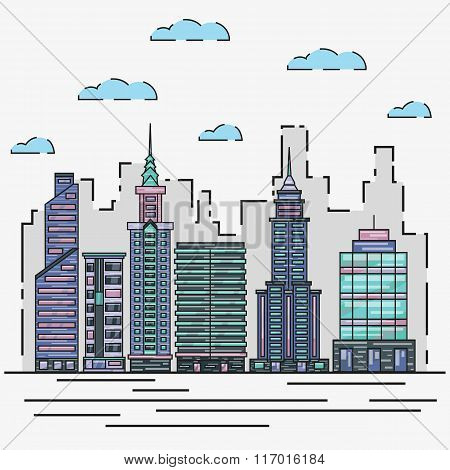 City architecture skyline vector illustration in thin line flat design. Cityscape and urban landscap