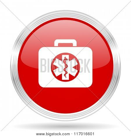 rescue kit red glossy circle modern web icon on white background