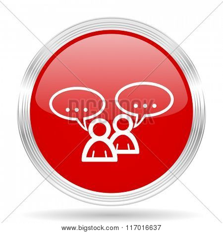 forum red glossy circle modern web icon on white background