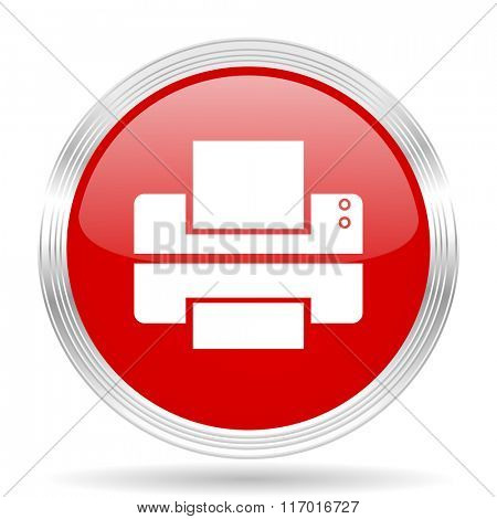 printer red glossy circle modern web icon on white background