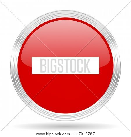 minus red glossy circle modern web icon on white background