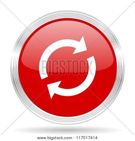reload red glossy circle modern web icon on white background