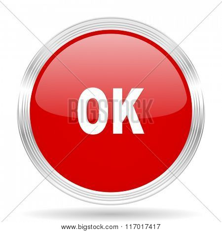 ok red glossy circle modern web icon on white background