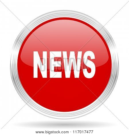 news red glossy circle modern web icon on white background
