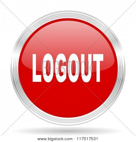 logout red glossy circle modern web icon on white background