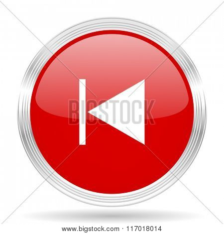 prev red glossy circle modern web icon on white background