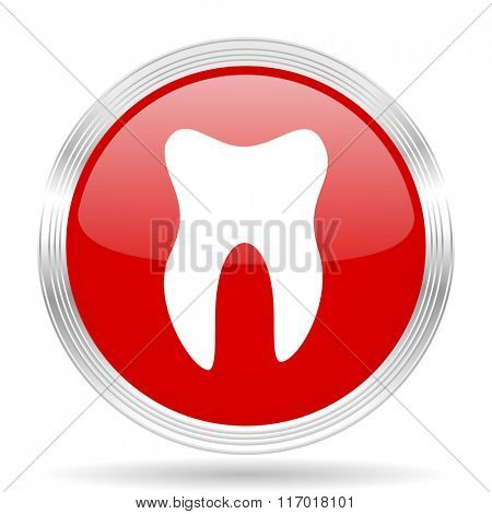 tooth red glossy circle modern web icon on white background