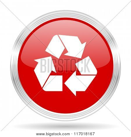 recycle red glossy circle modern web icon on white background
