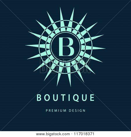 Monogram Design Elements, Graceful Template. Elegant Line Art Logo Design. Letter B. Business Sign,