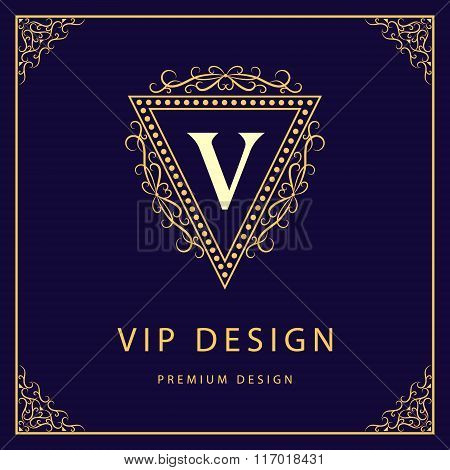 Monogram Design Elements, Graceful Template. Calligraphic Elegant Line Art Logo Design. Letter V. Bu