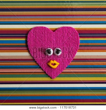 Funny heart with eyes.