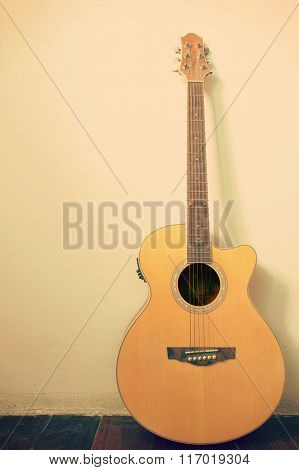 Guitar In Blank Empty Room